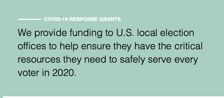 Funding for U.S. local election offices to help ensure they have the critical resources they need to safely serve every voter in 2020
